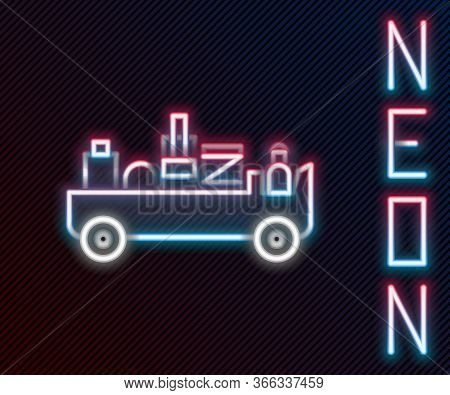 Glowing Neon Line Airport Luggage Towing Truck Icon Isolated On Black Background. Airport Luggage De