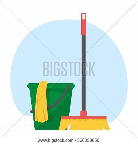 Bucket With A Mop And Broomstick Vector