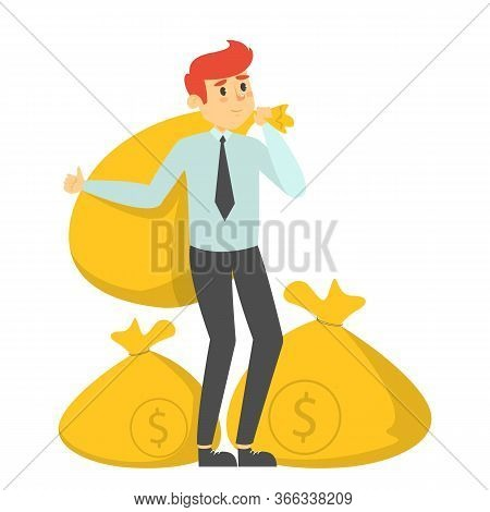 Happy Rich Man Holding The Money Bags