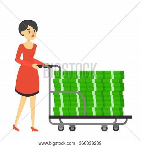 Rich Woman In Red Dress Carrying Hand Truck