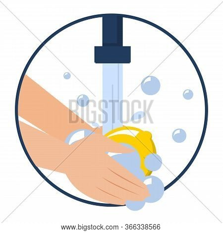 Hand Washing Lemon Vector Isolated. Wash Fruits