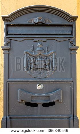 Single Isolated Black Mailbox With Keylock Switch