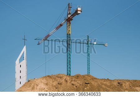 Construction Crane Or Building Crane On A Construction Site.