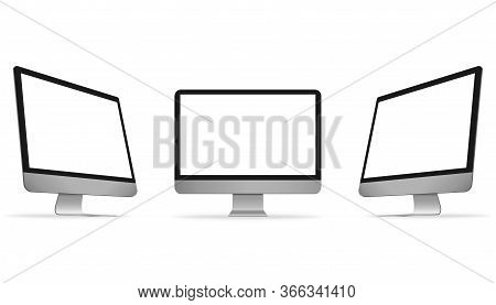 Realistic Computer Monitor In Front And Side View. Metal Desktop Mockup With White Screen. Illustrat
