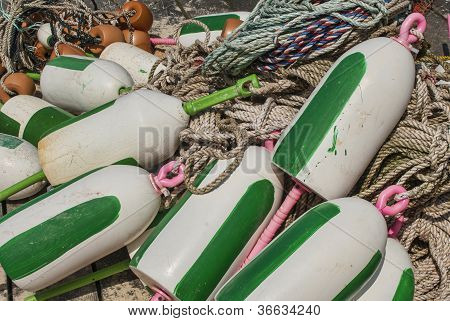 Bouys For Lobster Traps On The Dock