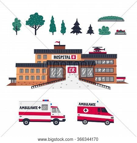 Hospital. Emergency Department Of Hospital - Main Building With Two Ambulance Cars And Elements For