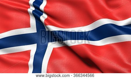 3D illustration of the flag of Norway waving in the wind.