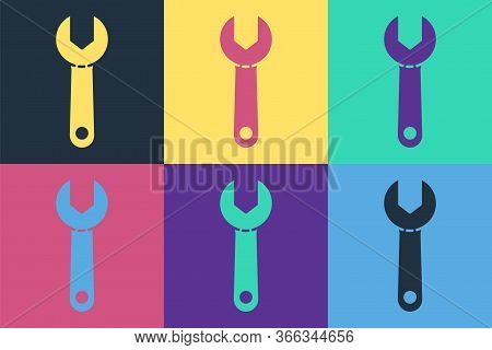 Pop Art Wrench Spanner Icon Isolated On Color Background. Vector