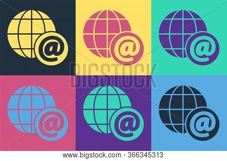 Pop Art Earth Globe With Mail And E-mail Icon Isolated On Color Background. Envelope Symbol E-mail.