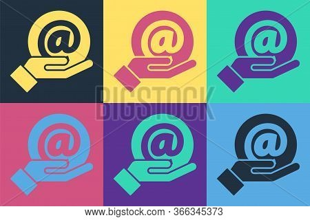 Pop Art Mail And E-mail In Hand Icon Isolated On Color Background. Envelope Symbol E-mail. Email Mes