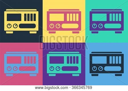 Pop Art Electrical Measuring Instruments Icon Isolated On Color Background. Analog Devices. Electric