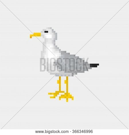 Old School 8 Bit Pixel Art Seagull Standing On The Ground.sea Bird Icon Isolated On White Background