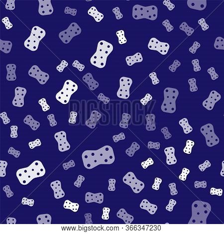 White Sponge With Bubbles Icon Isolated Seamless Pattern On Blue Background. Wisp Of Bast For Washin