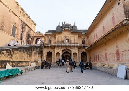 Jaipur, India - December 12, 2019: People In Front Of The Entrance To Nahargarh Fort.