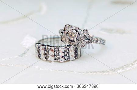 The Engagement Ring Set . Wedding Ring Set Isolated On White . Engagement Diamond Wedding Ring .