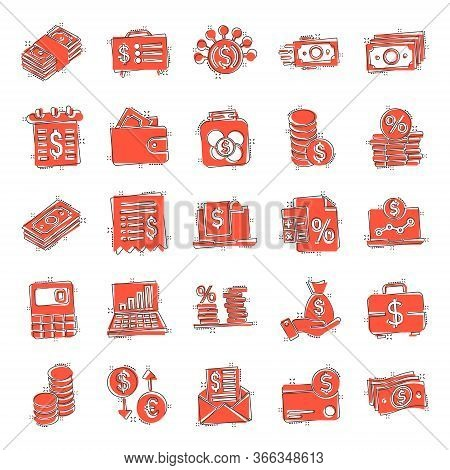 Money Finance Icon Set In Comic Style. Payment Cartoon Vector Illustration On White Isolated Backgro