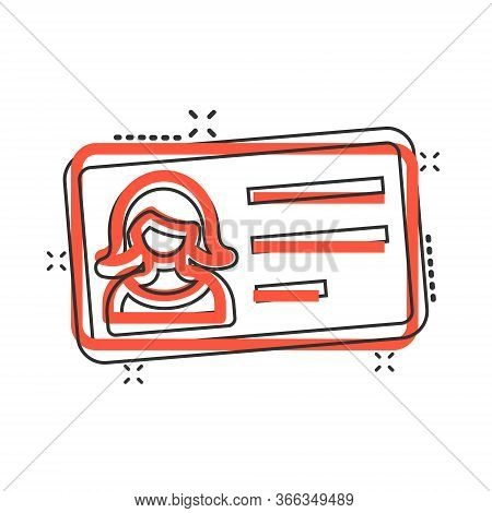 Women Id Card Icon In Comic Style. Identity Tag Cartoon Vector Illustration On White Isolated Backgr