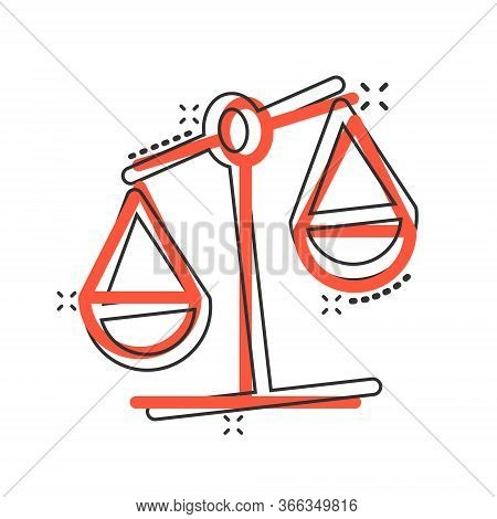 Scale Balance Icon In Comic Style. Justice Cartoon Vector Illustration On White Isolated Background.