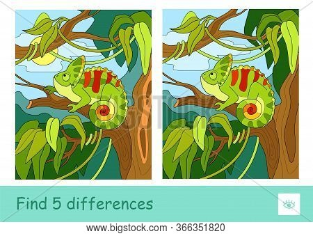 Find Five Differences Quiz Learning Children Game With Image Of A Chameleon Sitting On The Tree In R