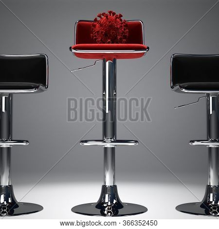 An Illustration Showing A Coronavirus On A High Red Bar Stool. 3d Rendering