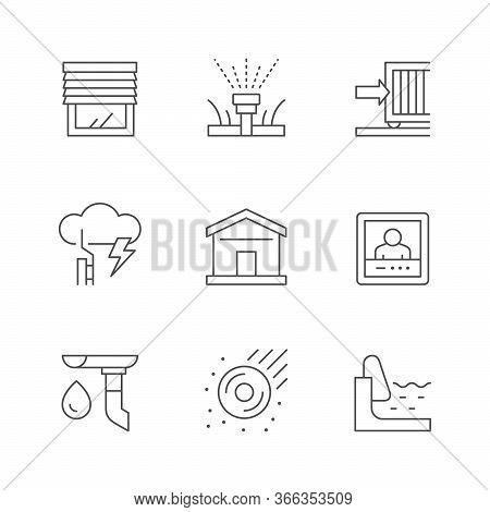 Set Line Icons Of House Systems Isolated On White. Jalousie, Automatic Irrigation, Sliding Gate, Lig