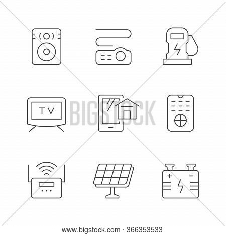 Set Line Icons Of House Systems Isolated On White. Sound Speaker, Car Electric Charger, Tv, Video Pr