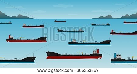 Vector Illustration Of Oil Tankers Floating In Coastline At Day With Sea. Nautical Vessel Float Off