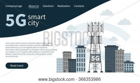 Landing Page Banner, Fifth Generation Base Station Or Mast, Vector Of Cellular Equipment, Mobile Dat