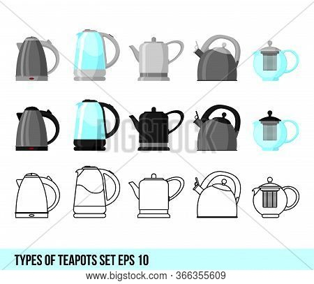 Vector Illustration Of Logo For Ceramic Electric And Gas Teapot, Glass And Iron Kettles Teapots With