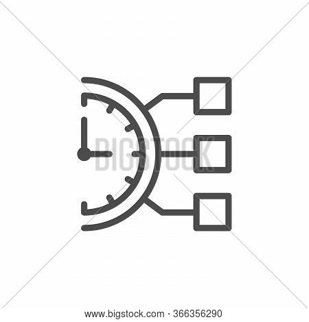 Daily Schedule Line Outline Icon Isolated On White. Time Reminder. Timer And Task Sign. Planning And