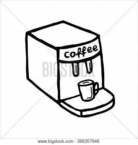 Coffee Machine, Coffee Maker Hand-drawn Liner Vector Isolated On A White Background. Kitchen Applian