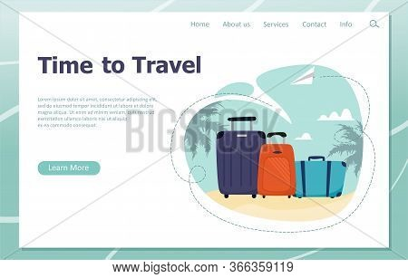 Travel Time Illustration For Business Travel Landing Page Templates. Travel Suitcases, Family Travel
