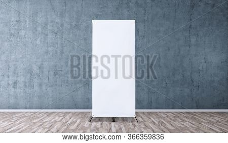 X-stand Banner For Training Or Promotional Presentation. Blank Template, Empty Banner Display For Pr