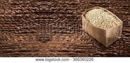 White Quinoa Seeds In Paper Bag - Chenopodium Quinoa - White Quinoa