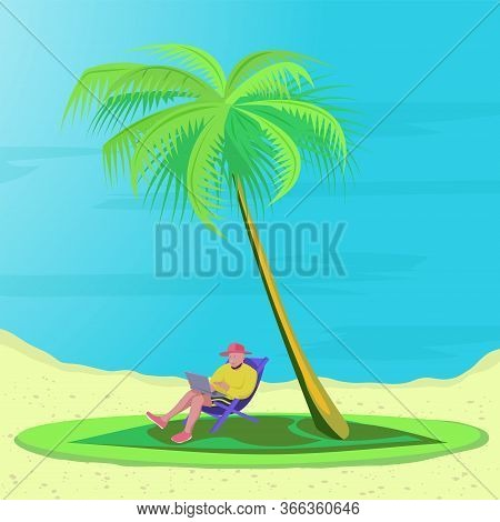 Bearded Man Is Lying On A Deck Chair On The Beach With Laptop Under The Palm Trees. Concept Telework