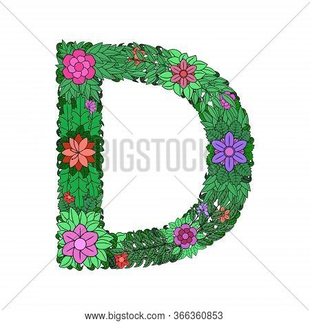 The Letter D - Bright Element Of The Colorful Floral Alphabet On White Background. Made From Flowers