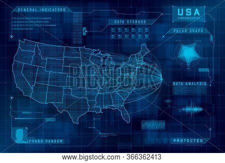 Hud Map Of The Usa. Set Of Hud Callout Design Elements. Cybersecurity, Information Security, Big Dat