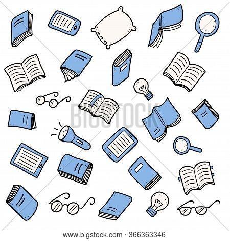 Hand Drawn Set Of Book Doodle Elements, E-book, Lamp, Education Symbols. Cut Isolated Vector Illustr