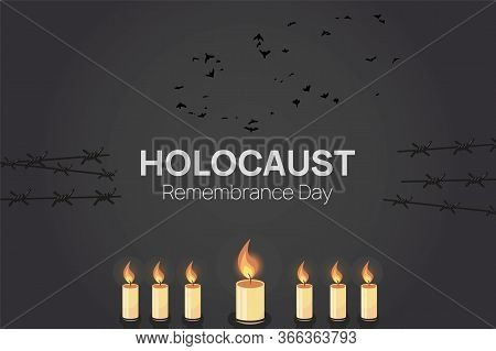 Holocaust Remembrance Day 27th Of January Template. 7 Candles In Menorah Among Barbed Wire. Vector I