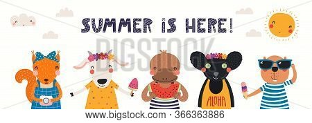 Hand Drawn Card, Banner With Cute Animals, Text Summer Is Here. Vector Illustration. Isolated On Whi