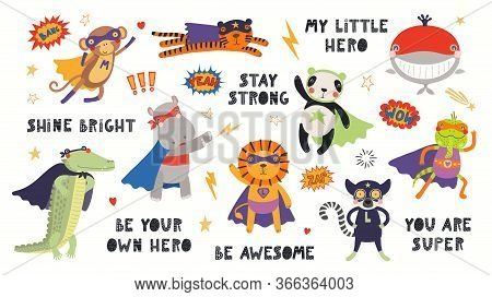 Big Set Of Cute Animal Superheroes In Masks, Capes, Flying, With Quotes. Isolated Objects On White B