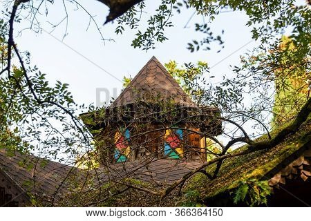 Tower Of A Fabulous House. Moss. Thin Tree Branches. Bright Sky. Architecture From A Fairy Tale