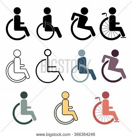 Disabled Set Color Style Line, Linear, Black Icon. Sign Design. Wheelchair Set Icon Icon Design Temp