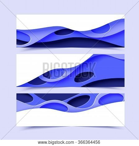 Three Abstract Horizontal Flyer Collection In Cut Paper Style. Set Of Cutout Blue Waves With Holes T