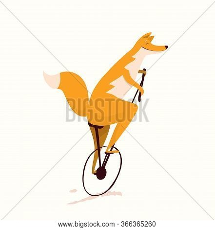 Fox Riding Unicycle Bicycle Design For Kids, Nursery Design. Funny And Cute Animal Print For Textile
