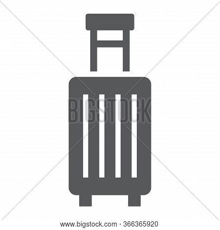 Suitcase Glyph Icon, Travel And Luggage, Luggage Sign Vector Graphics, A Solid Icon On A White Backg
