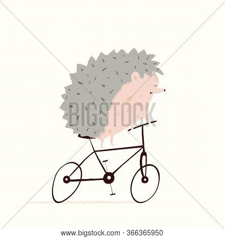 Hedgehog Or Porcupine Riding Bicycle Design For Kids, Nursery Design, Cycling Or Racing Symbol. Funn
