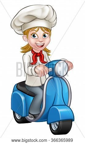 Cartoon Woman Chef Or Baker Character Riding A Delivery Moped Motorbike Scooter