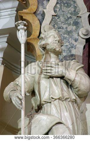 ZAGREB, CROATIA - NOVEMBER 12, 2012: Saint Joseph statue on the main altar in the Franciscan church of St. Francis Xavier in Zagreb, Croatia