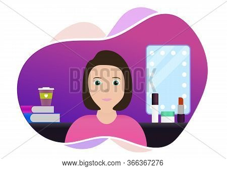 Distance Makeup Tutorial Or Courses, Professional Stylist Service Concept Illustration. Female Chara